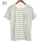 パイルプリント ボーダークルーTシャツ