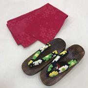 【浴衣用スペシャル2点セット】日本製半幅帯(アウトレット)・下駄の2点です。赤  残りわずかです。