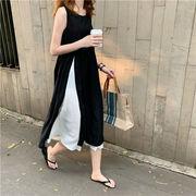 驚きの特価 韓国ファッション 縫付 ダブル ヘム シフォンスカート  ワンピース 夏 ロングスカート