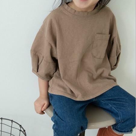 子供Tシャツ キッズ 女の子 男の子 シンプル トップス 無地 カジュアル系