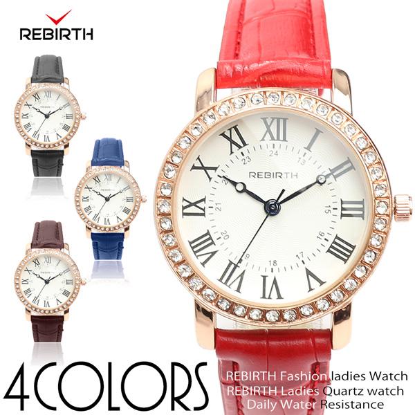 【REBIRTH リバース】セイコームーブメント 日常生活防水 ラインストーン ゴールド RB017 レディース腕時計