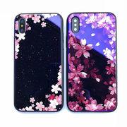 iPhone ケース 桜 さくら 夜 背面9H強化ガラス+TPUバンパー 高級感 おしゃれ 耐衝撃 光沢感 花柄 2デザイン