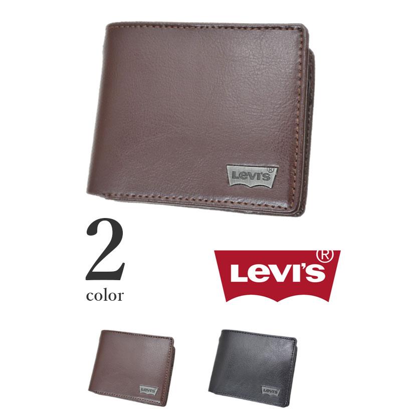 【全2色】 Levis リーバイス ウォレット 二つ折り 財布 リアルレザー メンズ レディース 男女兼用
