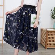 エレガントな花柄スカート 夏 大きいサイズ ミモレ丈 ウエストゴム ロングスカート 5L-9L 0050