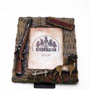 HUNTING ライフル シカ レリーフ装飾 フォトフレーム ■ 写真 置物 オブジェ
