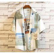 メンズ新作ワイシャツ 半袖トップス カジュアル ゆったり 花柄