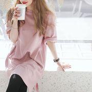 【即納】2019春夏新作 ビッグTシャツ 五分袖 ピンク トップス19ss-059【メール便可】