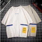 メンズ新作トップス カットソー 半袖Tシャツ ゆったり ホワイト/グレー2色