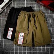 メンズ新作半ズボン ジョガーパンツ チノパン ハーフパンツ カジュアル ブラック/カーキ2色