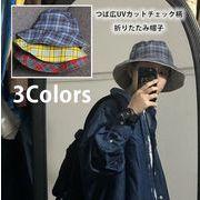 レディース帽子 バケットハット チェック柄 紫外線対策 小顔効果 漁師帽 UVカット 折りたたみ