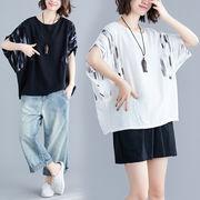 大きいサイズ プリントTシャツ 夏秋 ドルマンスリーブ 体型カバー 半袖 トップス 個性派 F 0532802