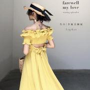 2色 韓国ファッション可愛 レディーズ 合わせやすい カジュアル 無地  半袖 シフォンワンピース