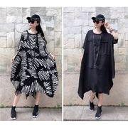 【大きいサイズL-XXL】ファッション/人気ワンピース♪ブラック/フラワー2色展開◆