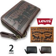 【全2色】 Levis リーバイス ラベルパッチデザイン型押しラウンドファスナーコインケース