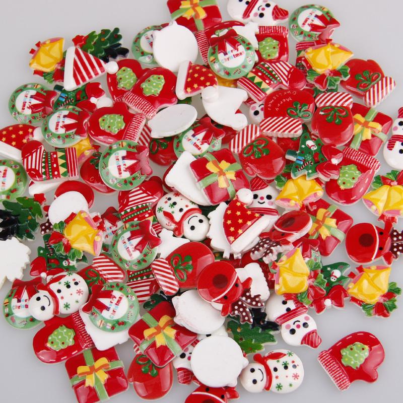 30個 クリスマス カボション 半立体 ミックス 樹脂 髪飾り 封入パーツ アクセサリー デコパーツ