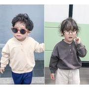 春 秋 子供Tシャツ キッズ 女の子 男の子 シンプル トップス 無地 カジュアル系