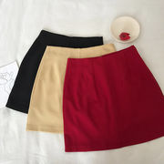 純 カラー ハイウエスト スカート 女 夏 新しいデザイン 韓国風 シンプル 着やせ 何