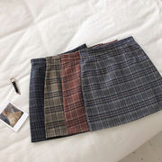 秋 新しいデザイン 韓国風 アンティーク調 カレッジ風 ハイウエスト グリッド 羊毛の
