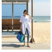3色☆夏★最強の新作★韓国ファッション 可愛 スレンダーライン 不規則スリット  Tシャツ