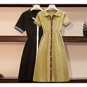 【大きいサイズXL-4XL】ファッションワンピース♪ブラック/ライトグリーン2色展開◆