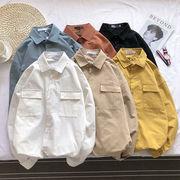 トップス メンズ シャツ シンプルカラーシャツ 長袖 アウター ジャケット