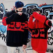 【即納661980】大きいサイズ 韓国 ファッション 英字プリント フード付き パーカー 男女兼用 LL-4L
