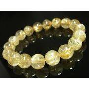 オススメ 現品一点物 高品質 ゴールドタイチンルチルブレスレット 数珠 12ミリ PTR20 水晶