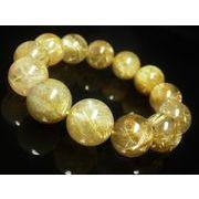 現品一点物 ゴールド タイチンルチル クォーツ ブレスレット 極太金針 水晶 数珠 18ミリ TKR21
