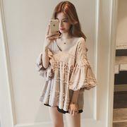 全4色★最強の新作★韓国ファッション可愛 合わせやすい パフスリーブ Vネック半袖 ブラウス