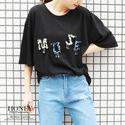 【2019春夏新作】ビジューロゴTシャツ/トップス/MUSE