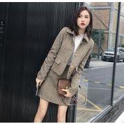 秋冬新作 女性服 2点セット セットアップ グレンチェック 長袖 ラペル アウター+ショットスカート 羊毛の
