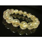お試し価格 現品一点物 ゴールドルチルブレスレット 金針水晶天然石数珠 14ミリ RK4