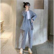 早秋新作 韓国風 2点セット おしゃれセット ボーダー柄 長袖 小さなスーツ + カジュアルパンツ 薄いスタイ