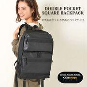 【新作】Wポケットスクエアバックパック メンズ レディース 大容量 通学 ブラック ナイロン