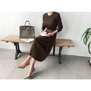 品質良い 店舗お勧め ロングスカート エレガント セータードレス ウエスト スリム 韓国 ワンビース