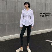 アーリー 秋 新しいデザイン 単一色 襟 長袖シャツ 女 韓国風 風 折り畳む ウエスト