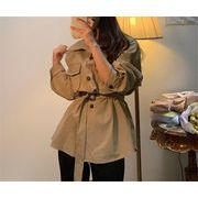 格好いい 韓国ファッション トレンチコート百掛け 長袖 単体ボタン 個性 Vネック コート