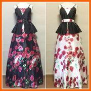 ■即納■ ベスト風人気の薔薇柄ロング姫ドレス【2色展開】1860185