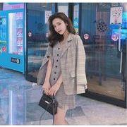 YUNOHAMI韓国風 セットアップ チェック柄 長袖 小さなスーツ+ キャミワンピース バックル おしゃれ秋冬