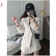 YUNOHAMI 韓国風 セットアップ シフォン2点セット 長袖 小さなスーツ+ プリーツスカート スリム 着痩せ