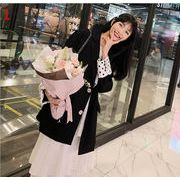 YUNOHAMI全2色 コートアウター 韓国ファッション 長袖 ドット柄 小さなスーツ カジュアル レトロ 秋冬