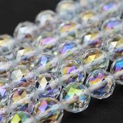 連 レインボーオーラ ダイヤモンドカット 8mm 天然石 素材 パーツ ハンドメイド