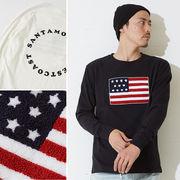 星条旗 サガラ 刺繍 ワッペン 長袖 ロング Tシャツ メンズ レディース ロンT ロンティー バック プリント