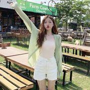 デザイン 感 シャツ 日焼け防止衣類  秋 新しいデザイン 韓国風 中長スタイル 女子学