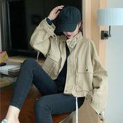 秋 新しいデザイン 韓国風 ルース 単一色 何でも似合う カーキ  コート アウターウェ