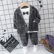 秋冬★♪人気商品★♪キッズスーツセット★♪男の子★チェック★スーツ★3点セット♪♪♪