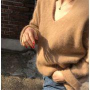 いまだけの超SALE価格  新品 減齢 モヘア ゆったりする Vネック 秋冬物 百掛け セーター