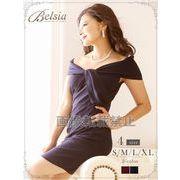 【Belsia】大きいサイズ完備!!ねじれオフショルミニドレス 単色ストレッチキャバクラドレス