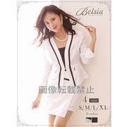 【Belsia】大きいサイズ完備!!simpleピンストライプ柄パイピングスーツ ノーカラーキャバクラスーツ