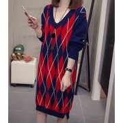 【大きいサイズXL-4XL】ファッション/人気ワンピース♪アンズ/ブルー2色展開◆